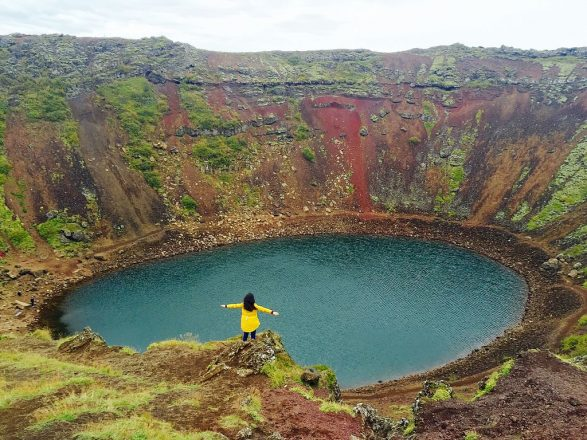 Kerið crater lake is nearby to the Golden Circle sightseeing route.