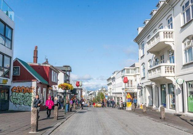 A photo of Laugavegur shopping street in Reykjavik.